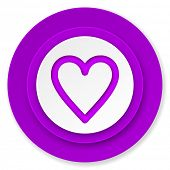 heart icon, violet button, love sign