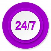 24/7 icon, violet button