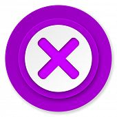 cancel icon, violet button, x sign