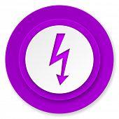 bolt icon, violet button, flash sign