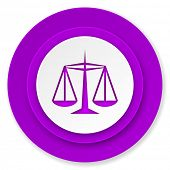 justice icon, violet button, law sign