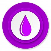 water drop icon, violet button