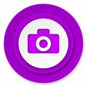 camera icon, violet button
