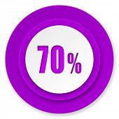 70 percent icon, violet button, sale sign