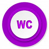 toilet icon, violet button, wc sign