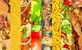 Different Meat And Vegetable Image Collage.food Background.