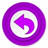 back icon, violet button, arrow sign