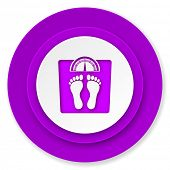 weight icon, violet button