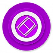 film icon, violet button, movie sign, cinema symbol