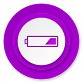 battery icon, violet button, charging symbol, power sign