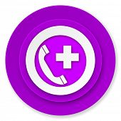 emergency call icon, violet button