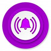alarm icon, violet button, alert sign, bell symbol