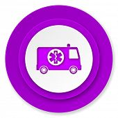 ambulance icon, violet button
