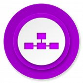 database icon, violet button