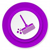 broom icon, violet button, clean sign