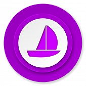 yacht icon, violet button, sail sign