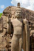 picture of rock carving  - Avukana standing Buddha statue Sri Lanka - JPG