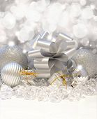 Christmas background with decorations, gifts and ice