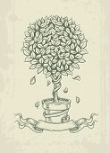 Hand drawn vintage tree with falling leaves. Eps10 vector illustration