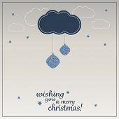 Christmas Greeting Card with Cloud and Christmas Balls