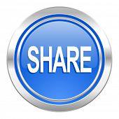 share icon, blue button