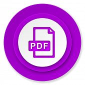 pdf file icon, violet button