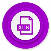 xls file icon, violet button