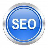seo icon, blue button