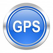 gps icon, blue button