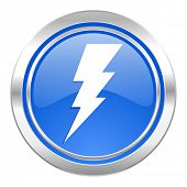 bolt icon, blue button, flash sign