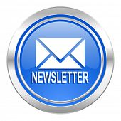 newsletter icon, blue button