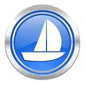 yacht icon, blue button, sail sign