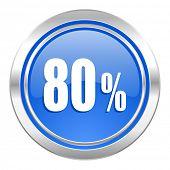 80 percent icon, blue button, sale sign