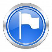 flag icon, blue button