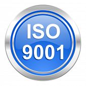 iso 9001 icon, blue button