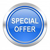 special offer icon, blue button