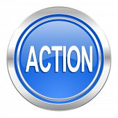 action icon, blue button