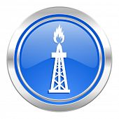 gas icon, blue button, oil sign