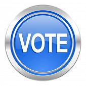 vote icon, blue button