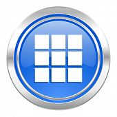 thumbnails grid icon, blue button, gallery sign