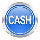 cash icon, blue button