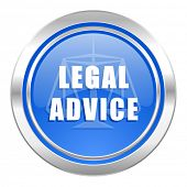 legal advice icon, blue button, law sign