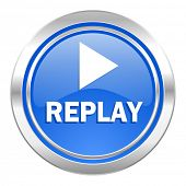 replay icon, blue button