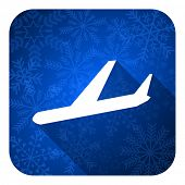 arrivals flat icon, christmas button, plane sign