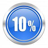 10 percent icon, blue button, sale sign
