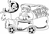 Illustration of Santa Claus driving car with Christmas that looks like a deer