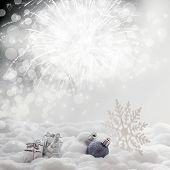 Christmas decorations on sparkling background
