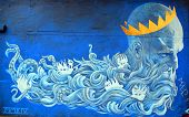 Street art Montreal god of sea