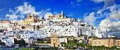panorama of Ostuni beautiful white town in Puglia, Italy