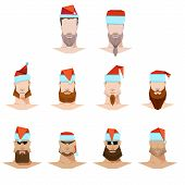Male Face Mustache And Beard And Sunglasses, Flat Style In The New Year Festive Hats